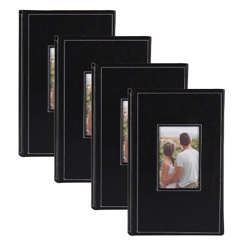 "9"" x 13"" Debossed Faux Leather Photo Album Set Black - DesignOvation - image 1 of 4"