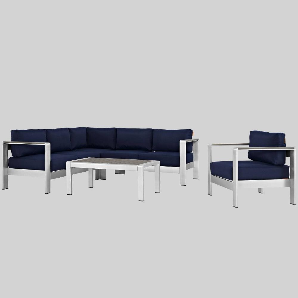 Shore 5pc Outdoor Patio Aluminum Sectional Sofa Set - Navy (Blue) - Modway