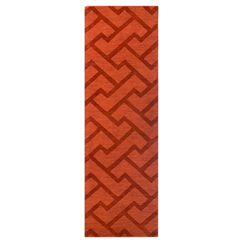Red Abstract Loomed Runner - (2'6X8' Runner) - Surya, Dark Red