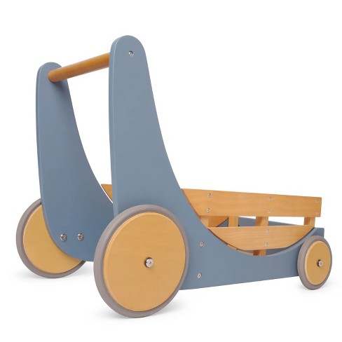 Kinderfeets 2-in-1 Wooden Cargo Push Walker Wagon for Children and Toddlers with Rubber Wheels, Blue - image 1 of 4