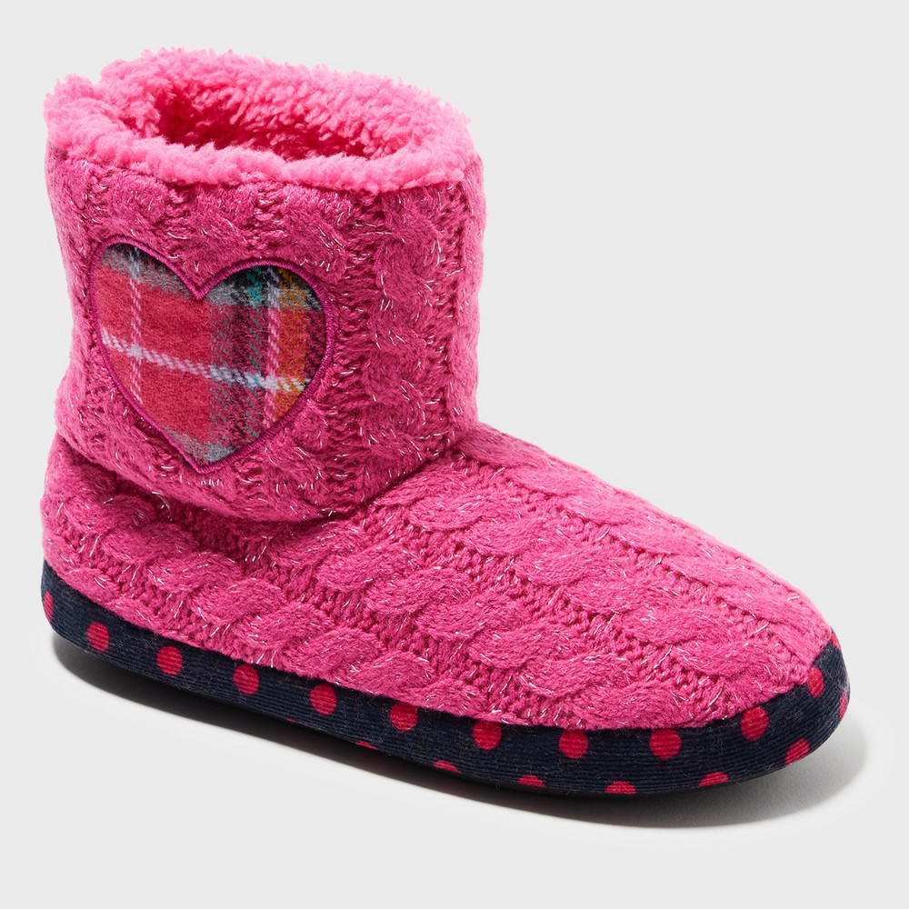 Girls' Dearfoams Bootie Slippers - Pink 9-10