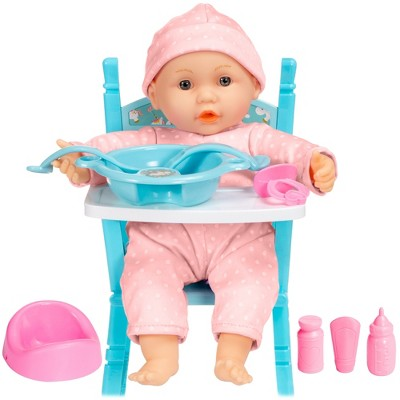 Best Choice Products 12.5in Realistic Baby Doll with Soft Body, Highchair, Potty, Pacifier, Bottle, 9 Accessories