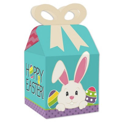 Big Dot of Happiness Hippity Hoppity - Square Favor Gift Boxes - Easter Bunny Party Bow Boxes - Set of 12
