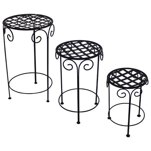 Iron Scroll Design Plant Stand - Black - Set of 3 - Sunnydaze Decor - image 1 of 4
