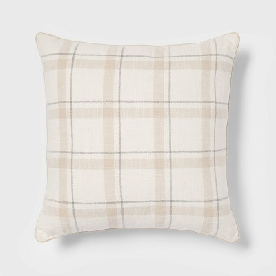 Woven Striped with Plaid Reverse Square Throw Pillow Neutral - Threshold™