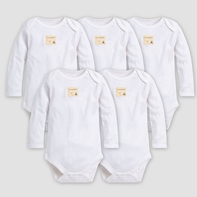 Burt's Bees Baby® Organic Cotton 5pk Long Sleeve Bodysuit - Cloud 0-3M