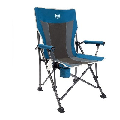 Timber Ridge Indoor Outdoor Portable Lightweight Folding Camping High Back Lounge Chair w/ Cup Holder and Carry Bag for Hiking, Beach, and Patio, Blue