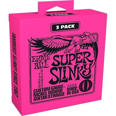 Ernie Ball 3223 Nickel Super Slinky Electric Guitar Strings 3-Pack