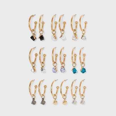 Cube Charms Hoop Earring Set 9pc - Wild Fable™