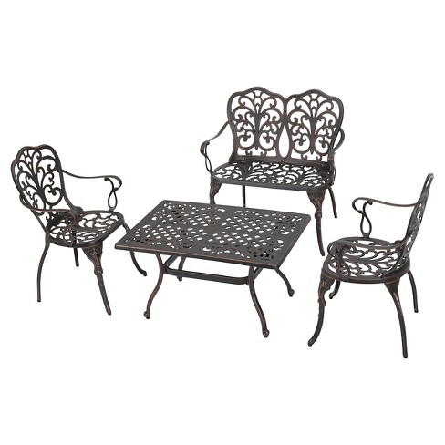 Zaria 4pc Cast Aluminum Chat Set - Shiny Copper - Christopher Knight Home - image 1 of 4