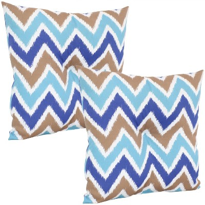 "20"" Square Tufted Decorative Outdoor Pillow - Set of 2 - Chevron Bliss - Sunnydaze Decor"