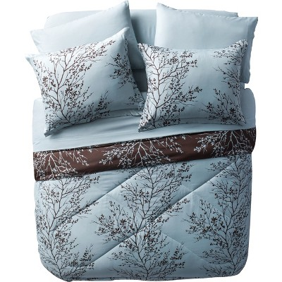 8pc Leaf Bed in a Bag Comforter Set Blue & Chocolate - VCNY Home