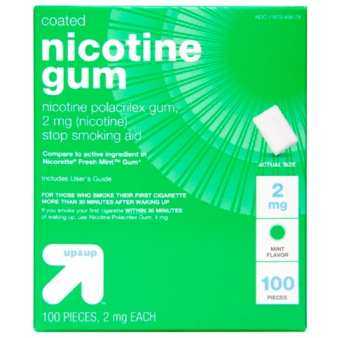 Coated Nicotine 2mg Gum Stop Smoking Aid - Cool Mint - 100ct - Up&Up™ (Compare to active ingredient in Nicorette Fresh Mint Gum) - image 1 of 1