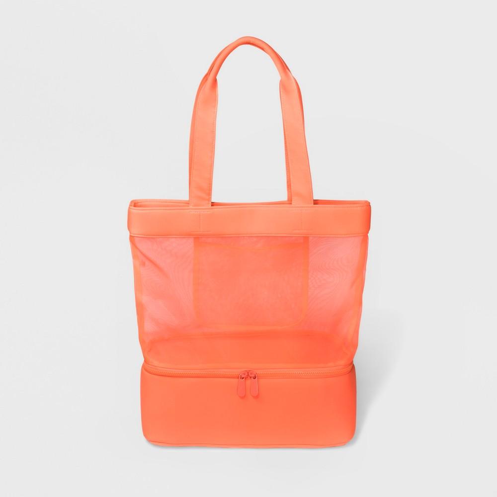 Neoprene Mesh Tote Handbag - Shade & Shore Sunrise Coral, Women's, Size: Large
