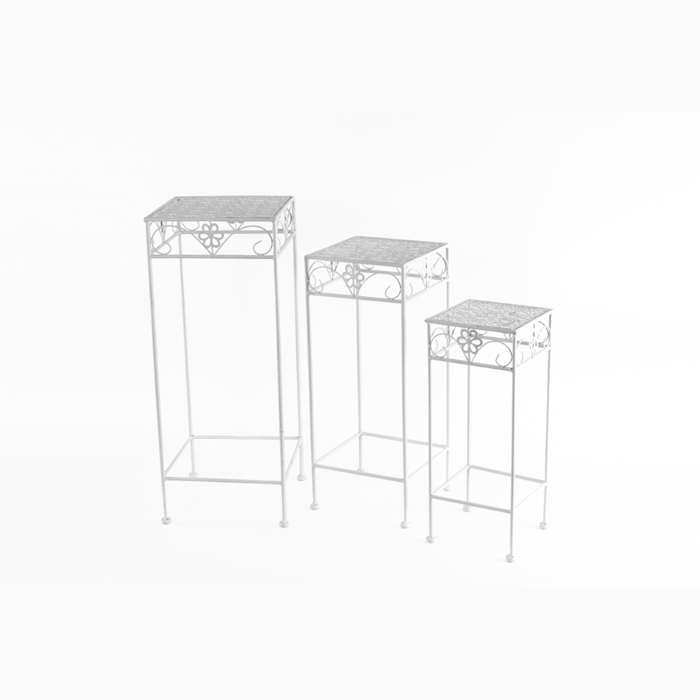 "Image of ""27"""" H Square Metal Planter Stands And Holders - White - Creative Motion"""