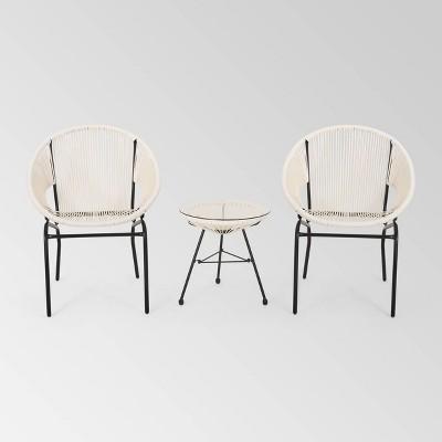 Nusa 3pc Faux Rattan Modern Chat Set - White - Christopher Knight Home