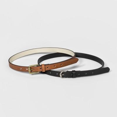Women's Goemetric Engraved Belt - Universal Thread™ Black/Brown