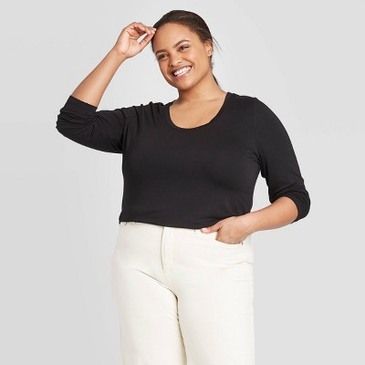 Women's Plus Size Long Sleeve Scoop Neck T-Shirt - Ava & Viv™