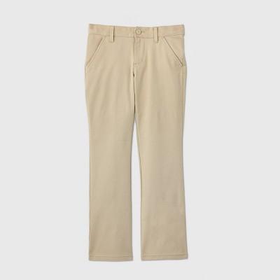 Girls' Flat Front Stretch Uniform Bootcut Fit Pants - Cat & Jack™ Khaki