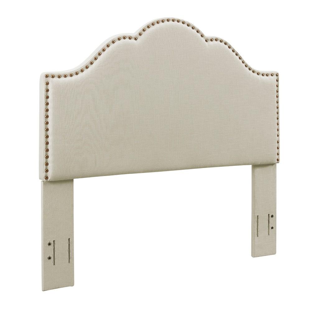 Preston Camelback Upholstered King/Cal King Adult Headboard Linen Cream (Ivory) - Crosley