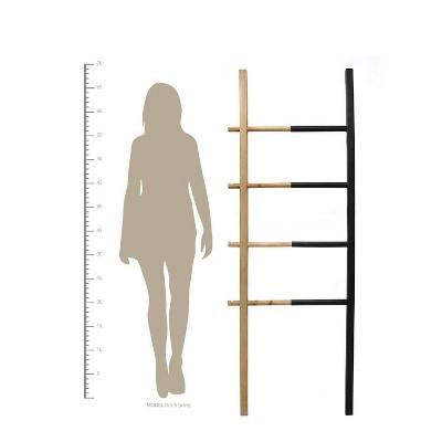 Wood and Metal Decorative Ladder Black - Stratton Home Decor