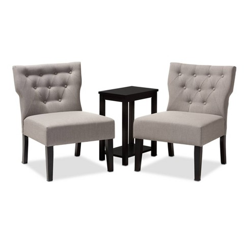 3pc Lerato Accent Chair & Table Set Gray - Baxton Studio - image 1 of 4