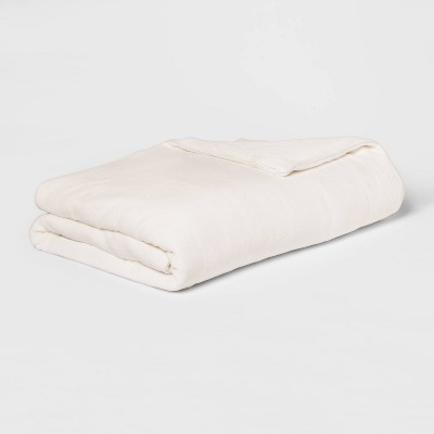 "55"" x 80"" 18lbs Micro Plush Weighted Blanket with Removable Cover Ivory - Threshold™"