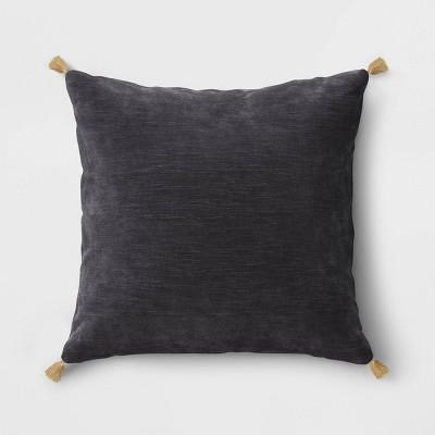 Velvet Square Throw Pillow with Tassels Gray - Threshold™