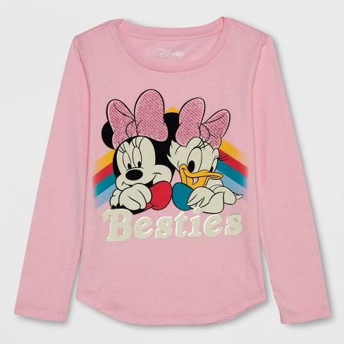 f7cb8e7b4 Girls' Disney Minnie Mouse Besties Long Sleeve T-Shirt - Light Pink ...