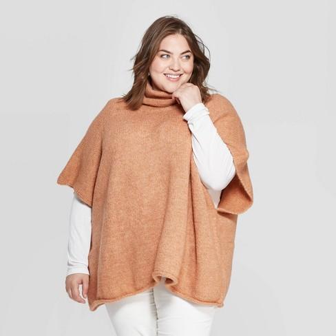 Women's Rolled Edge Poncho - Universal Thread™ Orange  One Size - image 1 of 2