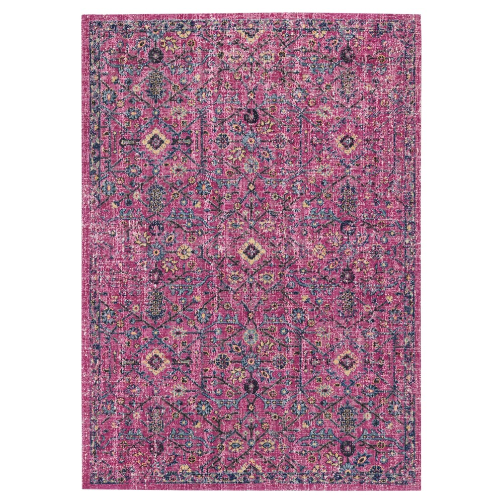 Fuchsia/Anthracite (Pink/Grey) Floral Loomed Accent Rug 3'3