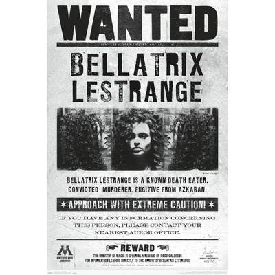 "34"" x 22"" The Wizarding World: Harry Potter: Bellatrix Wanted Unframed Wall Poster - Trends International"
