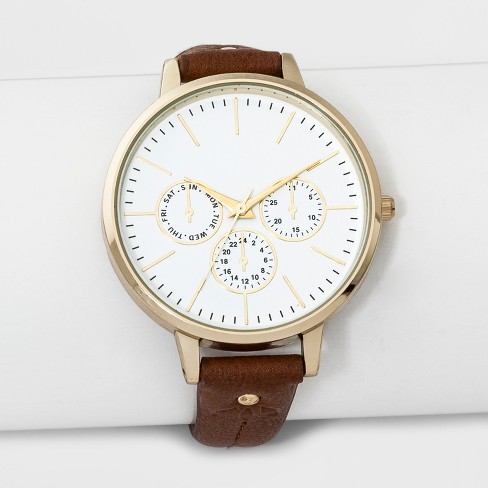 Women's Stamped Strap Watch - A New Day™ Brown - image 1 of 2