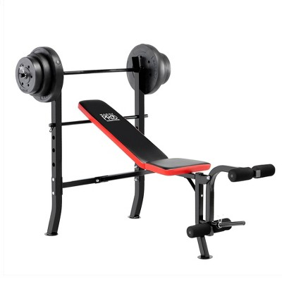 Marcy Pro Standard Bench with Weight Set 100lbs - Black