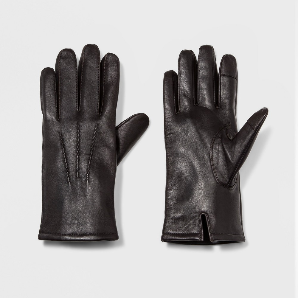 Men's Basic Leather Dress Glove With Thinsulate Lined Gloves - Goodfellow & Co Brown M
