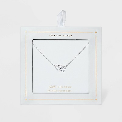 Sterling Silver Linked Double Open Heart Necklace - Silver