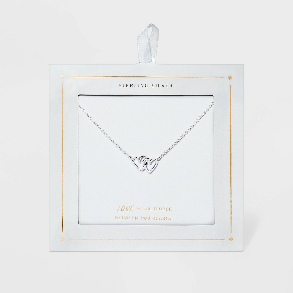 Sterling Silver Linked Double Open Heart Necklace Silver