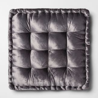 Velvet Oversize Square Floor Cushion Gray - Opalhouse™