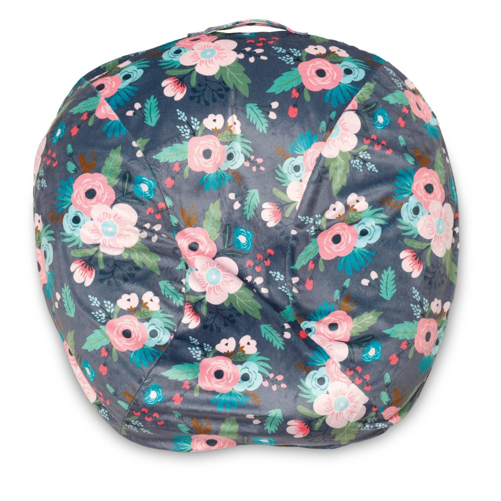 Image of Boppy Boutique Newborn Infant Seat Lounger Slipcover - Floral, Gray Pink