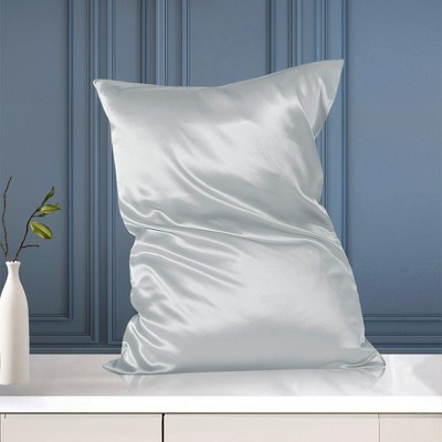 1 Pc Queen/20x30inch Silk with Zipper Pillow Cases Silver - PiccoCasa