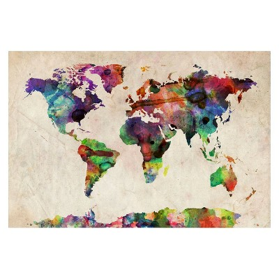 Urban Watercolor World Map' by Michael Tompsett Ready to Hang Canvas Wall Art