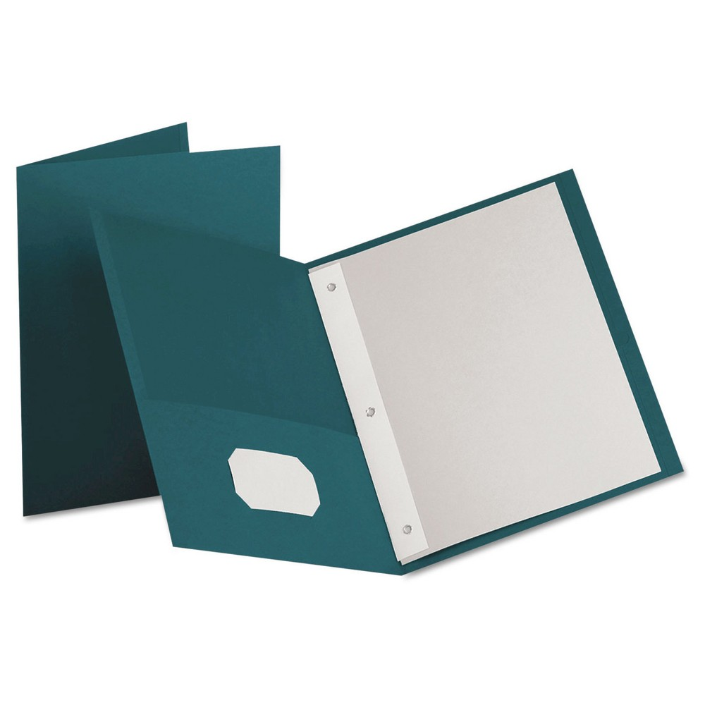 Image of Paper Folder with Prongs 2 Pocket Teal - Oxford, Blue Green