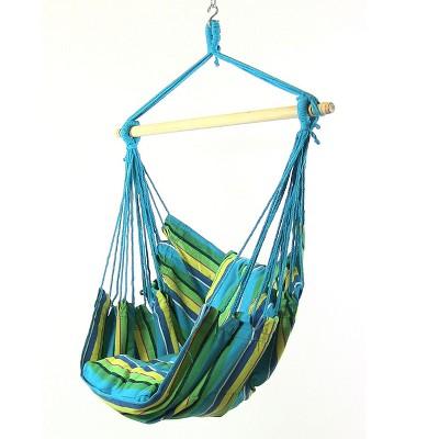 2 Hammock Chair Swings with Pillows - Ocean Breeze - Sunnydaze Decor