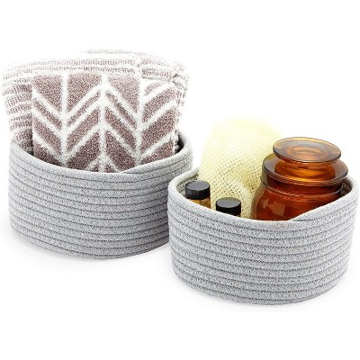 Farmlyn Creek 2-Pack Round Cotton Woven Baskets for Storage, Grey Home Organizers (2 Sizes)