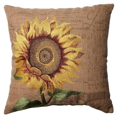 Pillow Perfect Sunflower Burlap Throw Pillow - Tan (16.5 )
