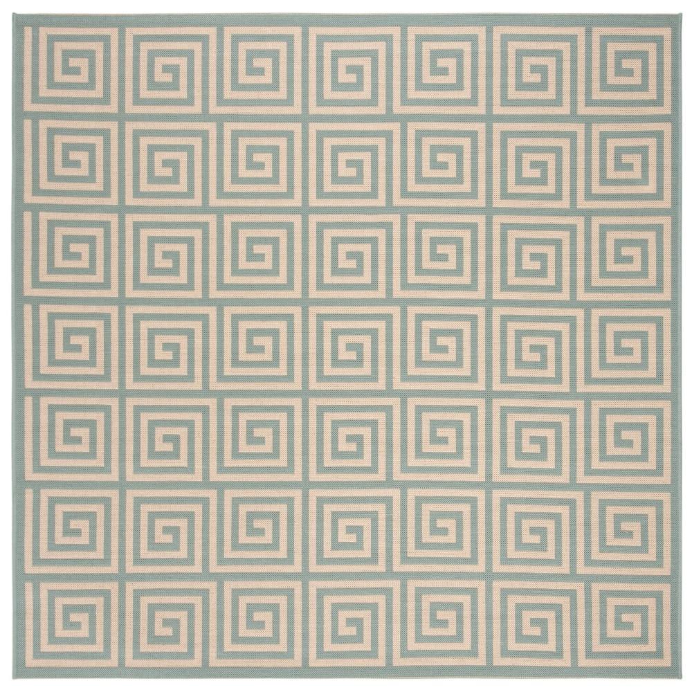 6 39 7 34 X6 39 7 34 Geometric Loomed Square Area Rug Cream Blue Safavieh