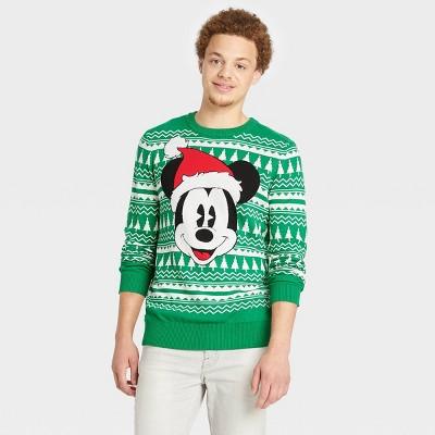 Men's Disney Mickey Santa Pullover Sweater - Green