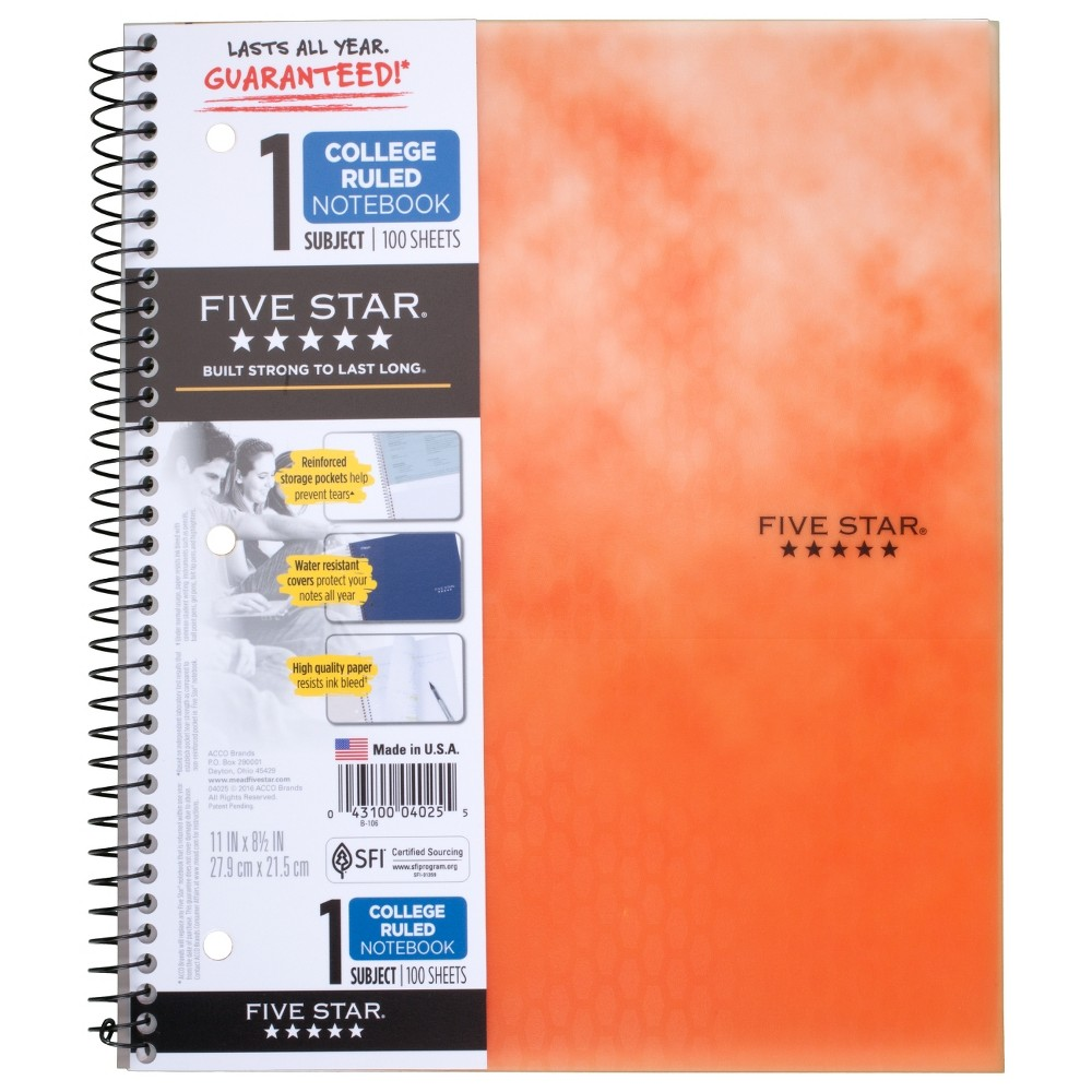 Spiral Notebook 1 Subject College Ruled Orange - Five Star