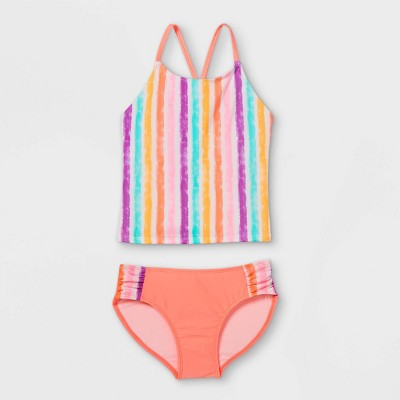Girls' Vertical Striped Tankini Set - Cat & Jack™ Coral