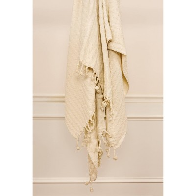"""50""""x60"""" Textured Striped Throw Blanket Ivory - Rizzy Home"""